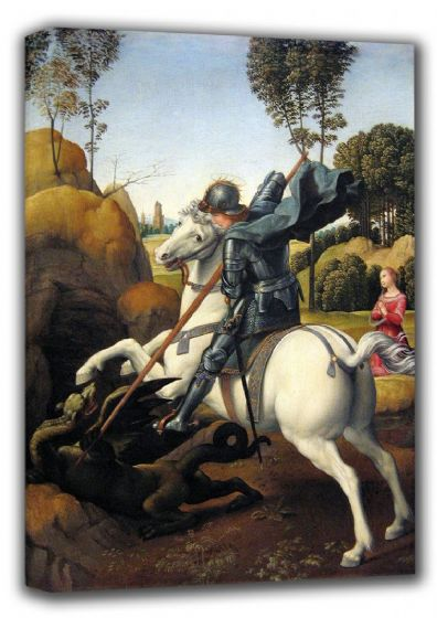 Raphael: St. (Saint) George and the Dragon. Fine Art Canvas. Sizes: A4/A3/A2/A1 (001296)
